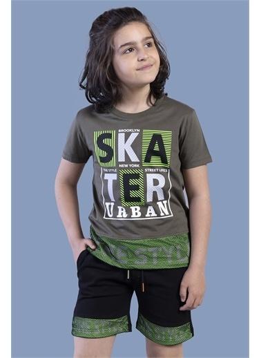 Toontoy Kids Toontoy Erkek Çocuk Garnili File Detaylı Baskılı Takım Haki